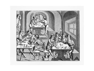 Illustration of the Interior of a Hostelry after a Woodcut from Vergil