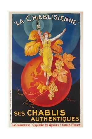 La Chablisienne, Ses Chablis Authentiques, French Wine Poster