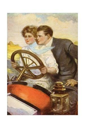 Vintage Postcard of Couple Driving