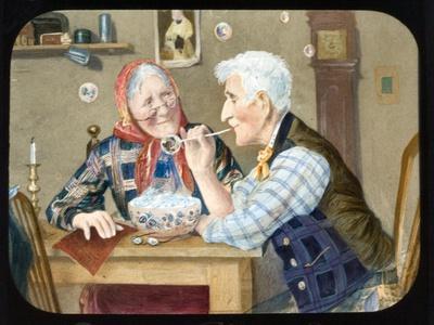 Victorian Magic Lantern Slide of Elderly Couple Blowing Bubbles