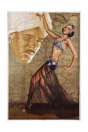Poster with a Belly Dancer and a Man in a Turban