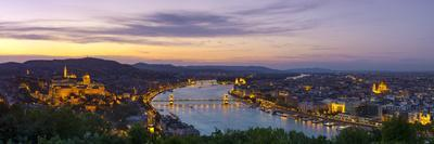 Elevated View over Budapest and the River Danube Illuminated at Sunset, Budapest, Hungary