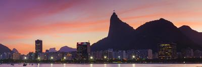 Botafogo Bay and Christ the Redeemer Statue at Sunset, Rio De Janeiro, Brazil