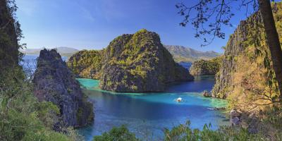 Philippines, Palawan, Coron Island, Kayangan Lake, Elevated View from One of the Limestone Cliffs