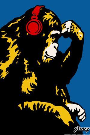 Monkey Thinker - Red Headphones