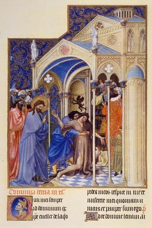 "Christ Exorcising a Demon from a Possessed Youth, from ""Tres Riches Heures"" of Jean, Duke of Berry"