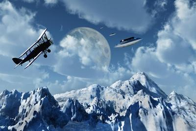 A 1930S Dh 82 Tiger Moth Biplane Encounters a Group of Ufo'S