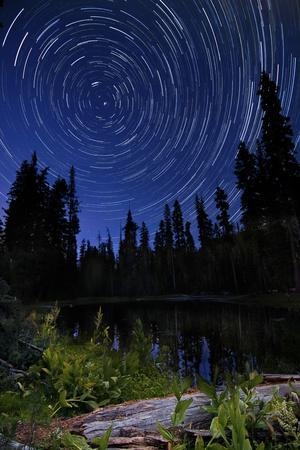 Star Trails Above Summit Lake in Lassen Volcanic National Park, California