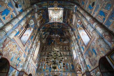 Painted Walls in the Cathedral of the Kremlin of Rostov Veliky, Golden Ring, Russia, Europe