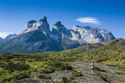 Woman Enjoying the Incredible Mountains of the Torres Del Paine National Park