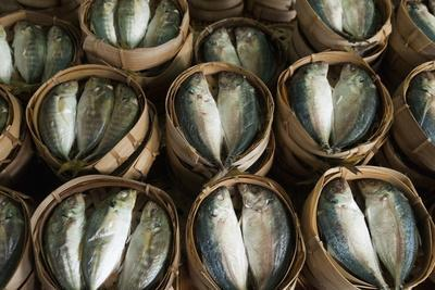 Fish Sold in Bamboo Containers Ready for Steaming at Talat Thong Khan Kham Market