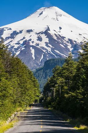Snowcapped Volcano Villarrica Towering Above Pucon, Southern Chile, South America