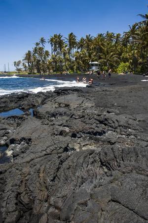 Punaluu Black Sand Beach on Big Island, Hawaii, United States of America, Pacific