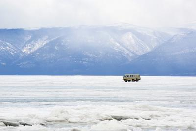 Driving on the Lake, Maloe More (Little Sea), Frozen Lake During Winter, Olkhon Island, Lake Baikal