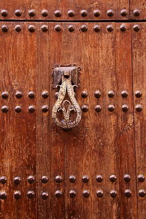 Detail of a Wooden Door and Bronze Knocker