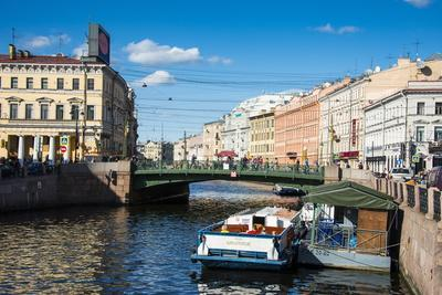 Tourist Boat on a Water Channel in the Center of St. Petersburg, Russia, Europe