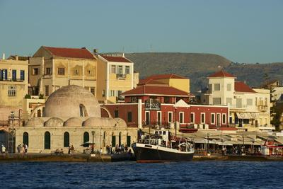 Venetian Port and Turkish Mosque, Chania, Crete, Greek Islands, Greece, Europe