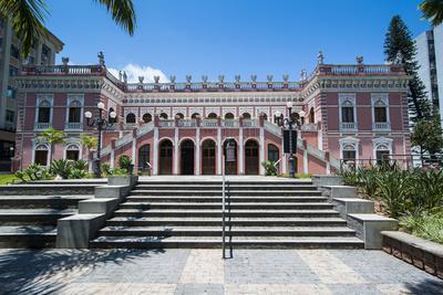 Pink Cruz E Sousa Palace in Florianopolis, Santa Catarina State, Brazil, South America