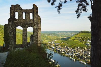 View from Grevenburg Castle of Traben-Trarbach and Moselle River (Mosel)