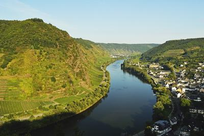 View of Ebernach and Moselle River (Mosel), Rhineland-Palatinate, Germany, Europe
