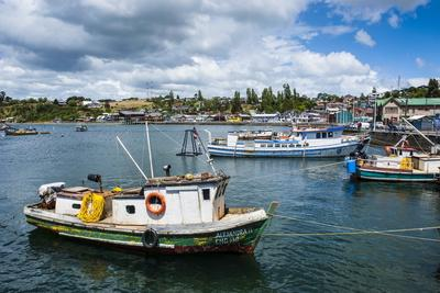 Little Fishing Boats in Chonchi, Chiloe, Chile, South America