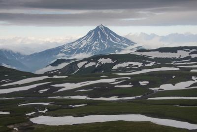 Aerial of Vilyuchinsk Volcano, Kamchatka, Russia, Eurasia