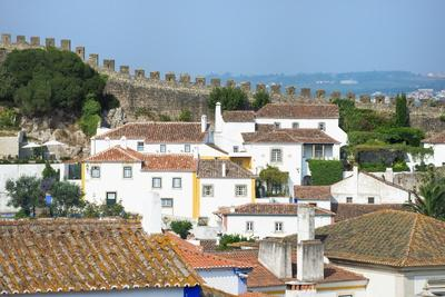 View over the Old City and the Ramparts, Obidos, Estremadura, Portugal, Europe