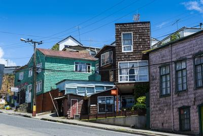Wooden Houses in Chonchi, Chiloe, Chile, South America