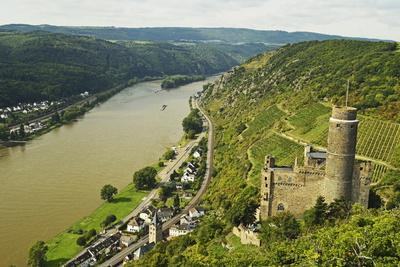 Castle Maus and River Rhine, Rhineland-Palatinate, Germany, Europe