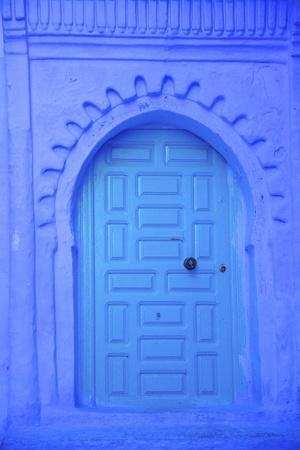 Traditional Blue Painted Door, Chefchaouen, Morocco, North Africa, Africa