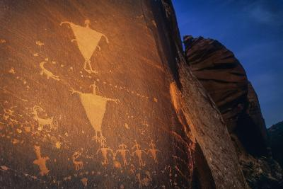 Anasazi Rock Art in Mill Creek Canyon Just Outside Moab at Dusk