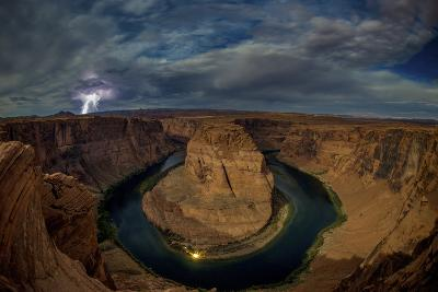 Lighting Strikes Above Horseshoe Bend in the Colorado River at Night