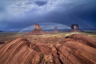 A Rainbow Arcs over West Mitten, Closer, East Mitten and Merrick Butte, on the Right