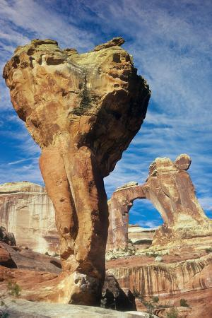 The Molar, a Natural Sandstone Formation, Stands before Angel Arch on the Skyline