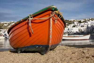Greece, Cyclades, Mykonos, Hora. Harbor view with fishing boats.