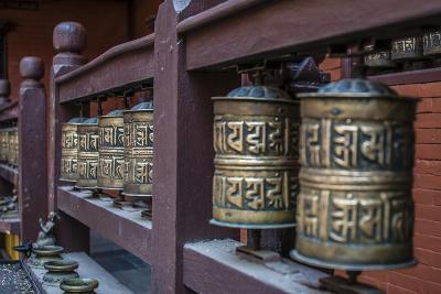 Prayer wheels, Bhaktapur, Kathmandu, Nepal.