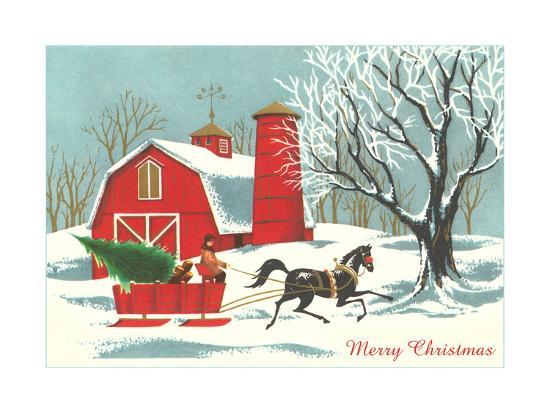 horse pulling sleigh wtih tree poster at allposters com