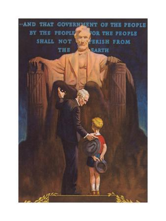 Lincoln Memorial, Man and Grandson