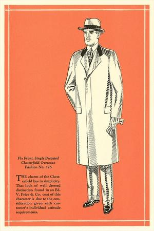 Fly Front Single-Breasted Overcoat