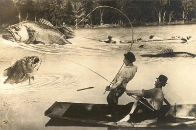 Fly Fisher with Giant Fish