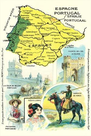 Map of Spain and Portugal