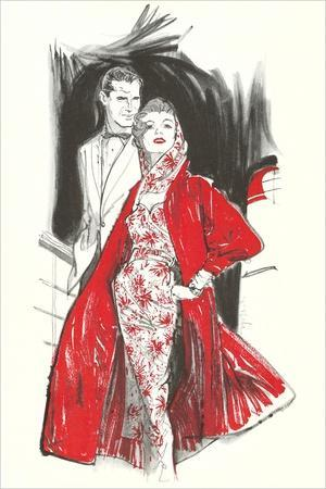 Evening Dress with Red Coat