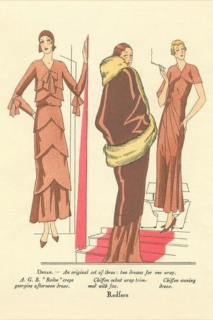 Fashion Illustration, Three Dresses