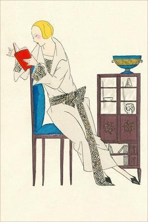 Woman Reading, Fashion Illustration