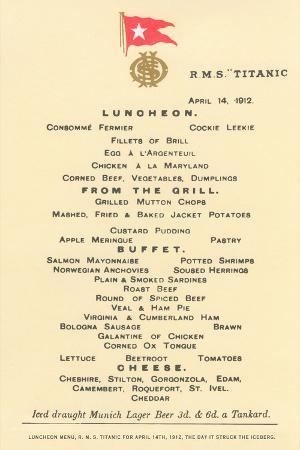 Lunch Menu on the Titanic