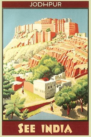 India Travel Poster, Jodhpur
