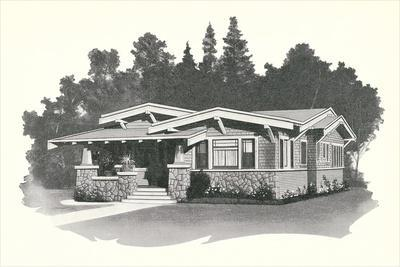 Rendering and Floor Plan of Craftsman House
