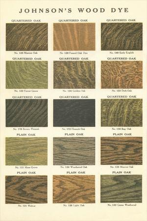 Sample Swatches of Wood Dye