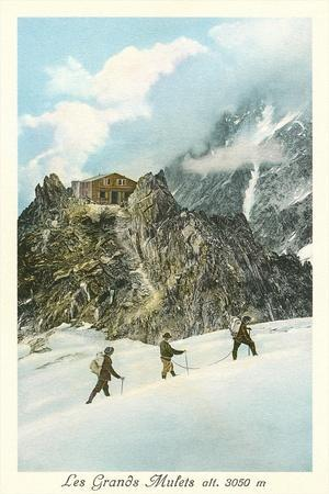 Les Grands Mulets, Winter Hikers in the Alps