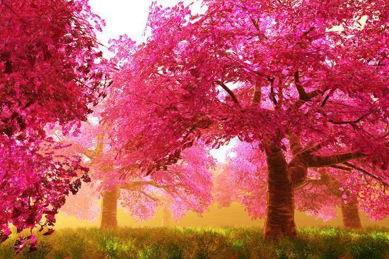 Mysterious Japanese Cherry Blossom Tree Sakura Render Art By